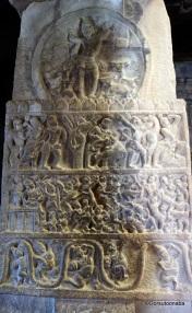 Pillar carving depicting Krisha's life - Mallikarjuna Temple, Pattadakal